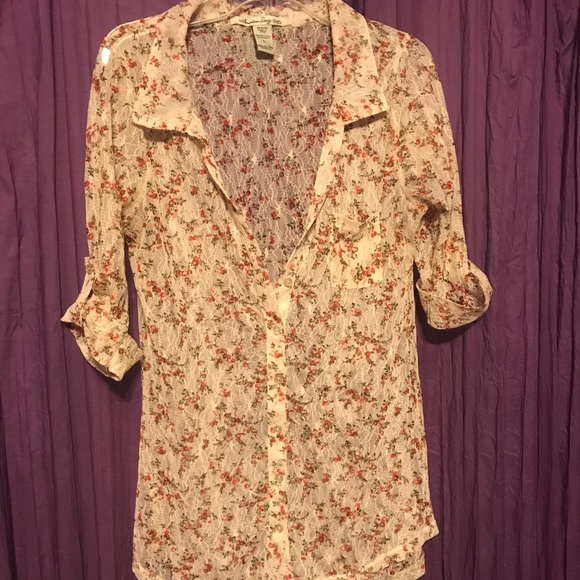 Tops - Lace button up